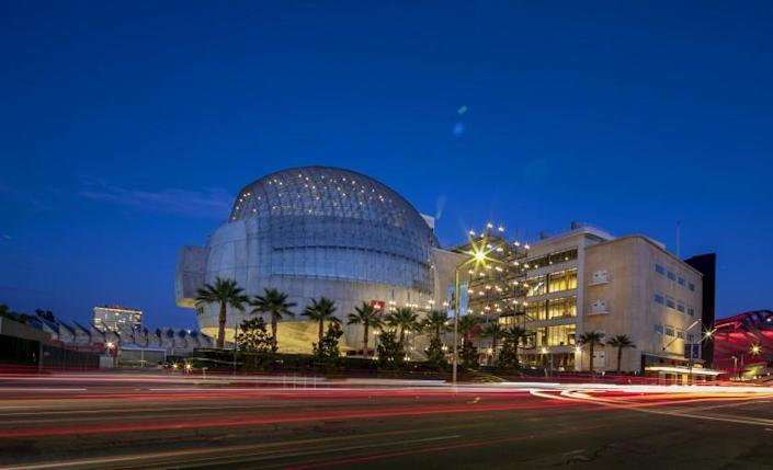 LOS ANGELES, CA - TUESDAY, AUGUST 10, 2021 - The new Academy Museum of Motion Pictures with traffic passing by on Fairfax Ave. (Ricardo DeAratanha / Los Angeles Times)