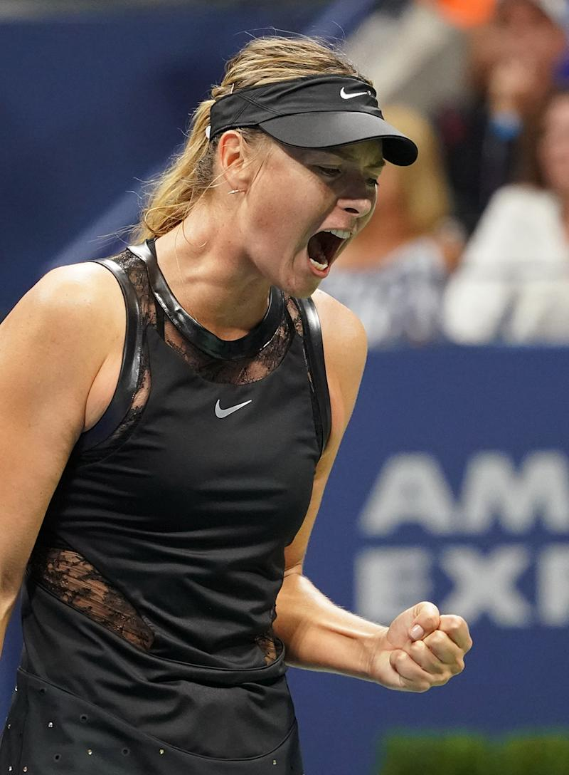 Maria Sharapova celebrates her victory over Simona Halep of Romania at the 2017 U.S. Open on Aug. 28.