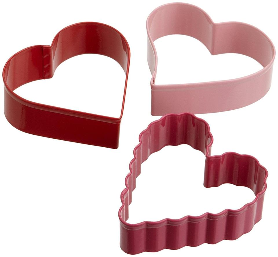 <p>Use this <span>Wilton Three-Piece Hearts Cutter Set</span> ($8) to bake cookies.</p>