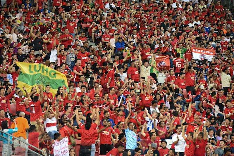 Manchester United fans filled the National Stadium during their team's International Champions Cup match against Inter Milan. (PHOTO: Zainal Yahya/Yahoo News Singapore)