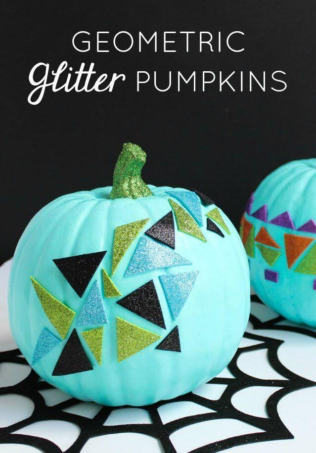 """<p>These funky pumpkins are as simple as finding a <a href=""""https://go.redirectingat.com?id=74968X1596630&url=https%3A%2F%2Fwww.orientaltrading.com%2Fglitter-foam-geometric-self-adhesive-shapes-a2-13640166.fltr&sref=https%3A%2F%2Fwww.goodhousekeeping.com%2Fholidays%2Fhalloween-ideas%2Fg1714%2Fno-carve-pumpkin-decorating%2F"""" rel=""""nofollow noopener"""" target=""""_blank"""" data-ylk=""""slk:pack of stickers"""" class=""""link rapid-noclick-resp"""">pack of stickers</a> you like and affixing them onto your gourd. Don't forget to paint your pumpkin stem to match. </p><p><em><a href=""""https://designimprovised.com/2017/10/pumpkin-week-geometric-glitter-pumpkins.html"""" rel=""""nofollow noopener"""" target=""""_blank"""" data-ylk=""""slk:Get the tutorial at Design Improvised »"""" class=""""link rapid-noclick-resp"""">Get the tutorial at Design Improvised »</a></em></p><p><strong>RELATED:</strong> <a href=""""https://www.goodhousekeeping.com/holidays/halloween-ideas/g28325572/halloween-window-decorations/"""" rel=""""nofollow noopener"""" target=""""_blank"""" data-ylk=""""slk:Spooky Window Decorations for the Best Halloween Ever"""" class=""""link rapid-noclick-resp"""">Spooky Window Decorations for the Best Halloween Ever</a><br></p>"""