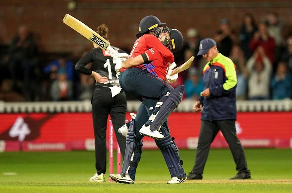 England clinched the T20 series against New Zealand in the final over of the match at Taunton to win by four wickets (David Davies/PA) (PA Wire)