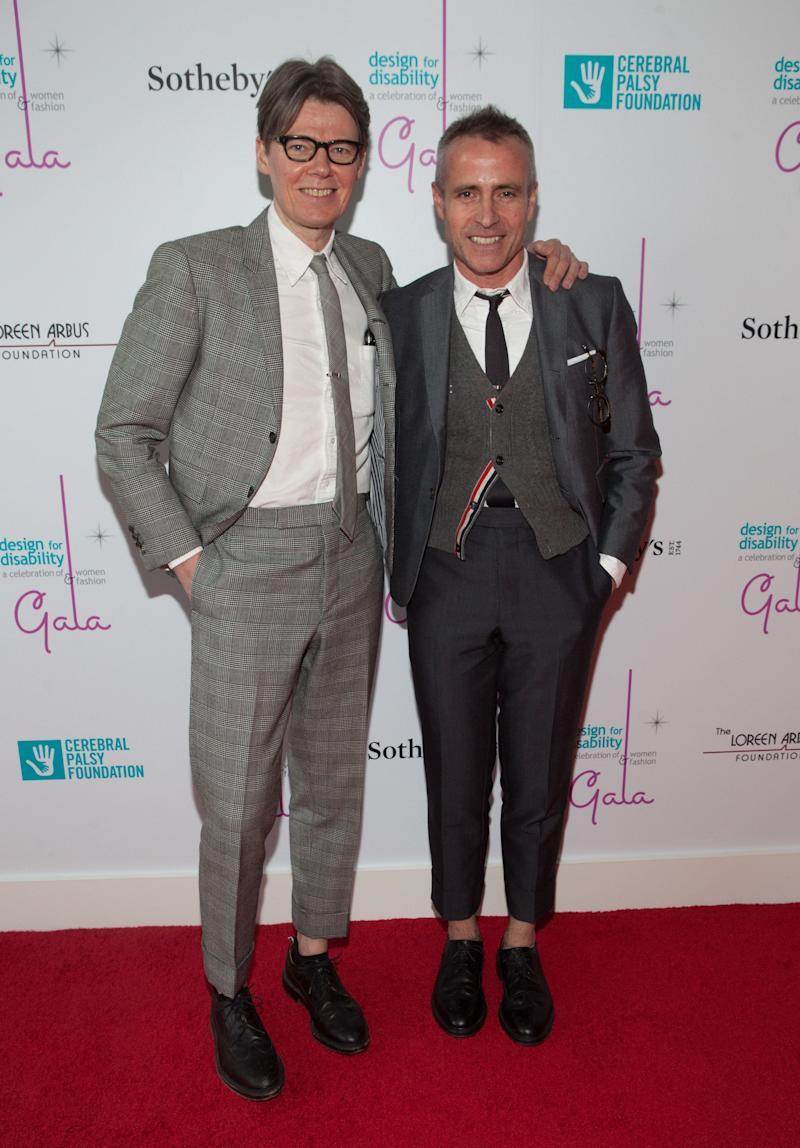 Andrew Bolton and Thom Browne are one fashionable pair. Bolton, curator at The Costume Institute, and Browne, a fashion designer, almost always wear sharp, tailored pieces when out for events. In this photo, they're sporting coordinating gray ensembles at the 2016 Design for Disability Gala at Sotheby's in New York City on May 16, 2016.