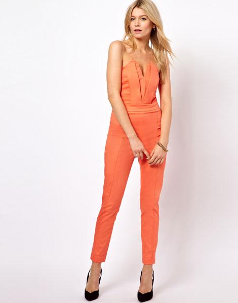 """<a target=""""_blank"""" href=""""http://www.asos.com/ASOS/ASOS-Jumpsuit-With-Pleat-Bust-Origami-Detail/Prod/pgeproduct.aspx?iid=2741101&SearchQuery=jumpsuit&sh=0&pge=1&pgesize=200&sort=3&clr=Coral""""><b>Jumpsuit With Pleat Bust Origami Detail - £50 - ASOS</b></a><br><br>Inject a little colour into your outfit with this show-stopping orange number."""