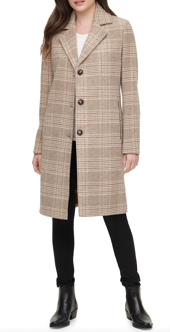 This wool-blend plaid coat is an affordable alternative to Kate Middleton's Massimo Dutti look.