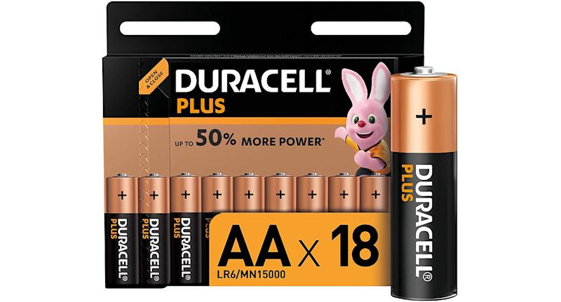 Duracell Plus AA alkaline batteries, pack of 18