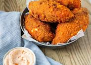 """<p>Skip the flour and go for pork rinds and Parmesan. </p><p>Get the recipe from <a href=""""https://www.delish.com/cooking/nutrition/a29537911/keto-fried-chicken-recipe/"""" rel=""""nofollow noopener"""" target=""""_blank"""" data-ylk=""""slk:Delish"""" class=""""link rapid-noclick-resp"""">Delish</a>.</p>"""