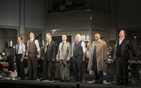 The cast of Glengarry Glen Ross during the curtain call at the Playhouse Theatre