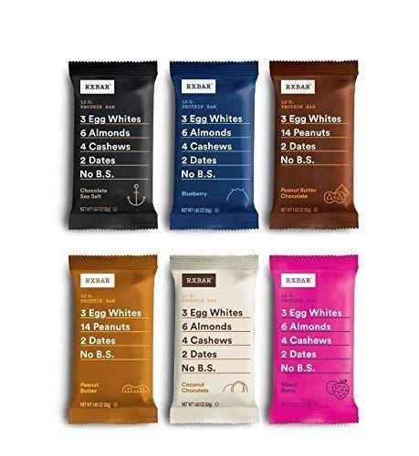 """<p><strong>RXBAR</strong></p><p>amazon.com</p><p><strong>$27.53</strong></p><p><a href=""""https://www.amazon.com/dp/B018H3LFJG?tag=syn-yahoo-20&ascsubtag=%5Bartid%7C2140.g.35902212%5Bsrc%7Cyahoo-us"""" rel=""""nofollow noopener"""" target=""""_blank"""" data-ylk=""""slk:Shop Now"""" class=""""link rapid-noclick-resp"""">Shop Now</a></p><p>If you're looking for a more traditional snack bar option, <a href=""""https://www.rxbar.com/"""" rel=""""nofollow noopener"""" target=""""_blank"""" data-ylk=""""slk:RxBars"""" class=""""link rapid-noclick-resp"""">RxBars</a> are a good meat-free source of protein, says Rodgers. Plus, with a healthy dose of fruit and nuts, they're made to taste like cookies. The bars come in plenty of fun, classic flavors—Peanut Butter, Chocolate Chip, Mixed Berry, Maple Sea Salt—that contain Whole30-friendly ingredients like egg whites, dates, peanuts, walnuts, and cashews. For 140 calories each, you'll get seven grams of protein plus three grams of fiber from the nuts and fruits (<a href=""""https://www.womenshealthmag.com/weight-loss/a19982334/why-high-protein-diets-constipate-you/"""" rel=""""nofollow noopener"""" target=""""_blank"""" data-ylk=""""slk:helpful to keep things moving along"""" class=""""link rapid-noclick-resp"""">helpful to keep things moving along</a>!).</p>"""