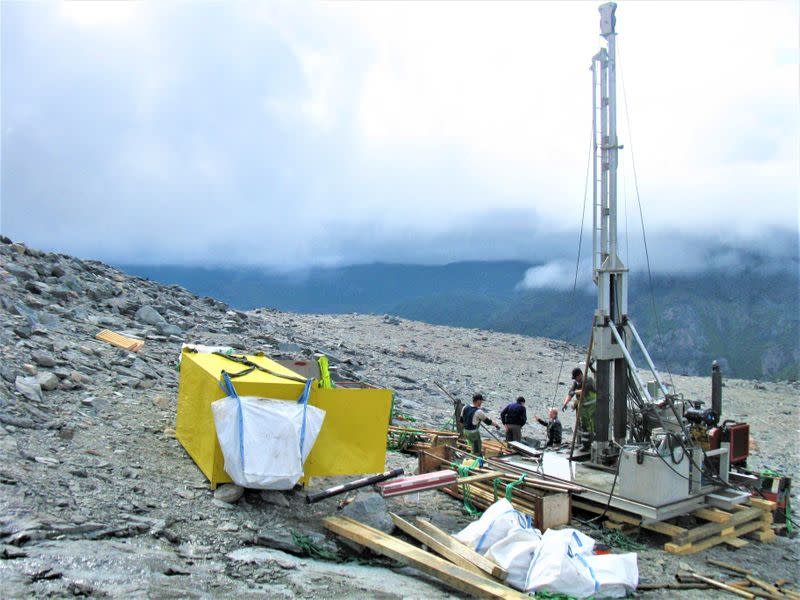 A view shows exploration drilling at the the Kringlerne rare earth deposit, near the town of Narsaq