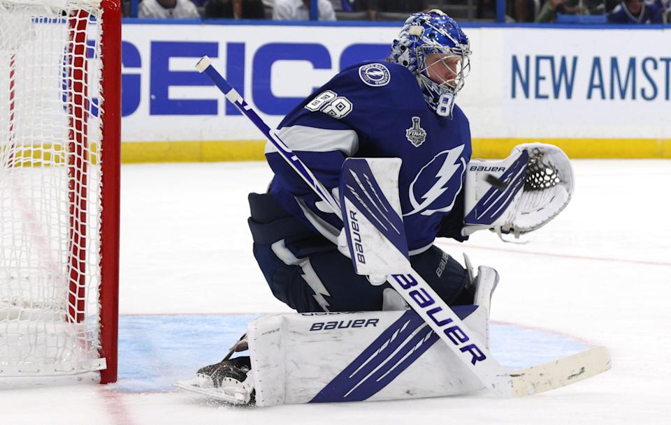 TAMPA, FLORIDA - JULY 07: Goaltender Andrei Vasilevskiy #88 of the Tampa Bay Lightning makes a save during the second period of Game Four of the 2021 Stanley Cup Final Montreal Canadiens at Bell Centre on July 05, 2021 in Montreal, Quebec. (Photo by Dave Sandford/NHLI via Getty Images)