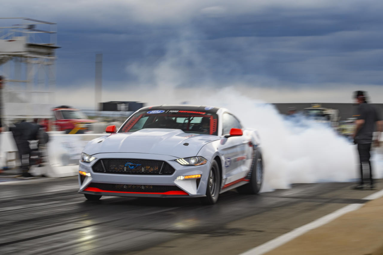 Engineered to shatter towering performance goals without using a drop of fuel, the all-electric Ford Mustang Cobra Jet 1400 prototype has blazed through a quarter-mile in 8.27 seconds at 168 miles per hour and reached 1,502 peak wheel horsepower in recent private development testing.