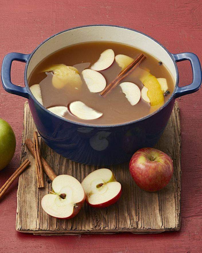 """<p>Keep a big pot of this cozy mulled cider simmering on the stove. It'll make your house smell just as amazing as it tastes.</p><p><strong><a href=""""https://www.thepioneerwoman.com/food-cooking/recipes/a34276628/mulled-maple-apple-cider/"""" rel=""""nofollow noopener"""" target=""""_blank"""" data-ylk=""""slk:Get Ree's recipe."""" class=""""link rapid-noclick-resp"""">Get Ree's recipe.</a></strong> </p>"""