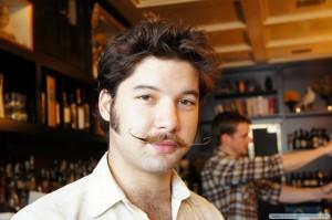 Bartender with salvador dali moustache