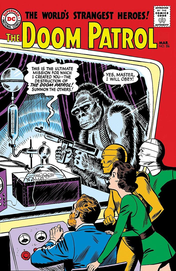 The cover for Doom Patrol #86 shows the Doom Patrol looking at the Brotherhood of Evil which is made up of a gorilla holding a gun and a brain in a jar