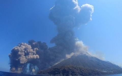 The eruption on Stromboli sent a huge plume of ash and smoke into the sky - Credit: Twitter