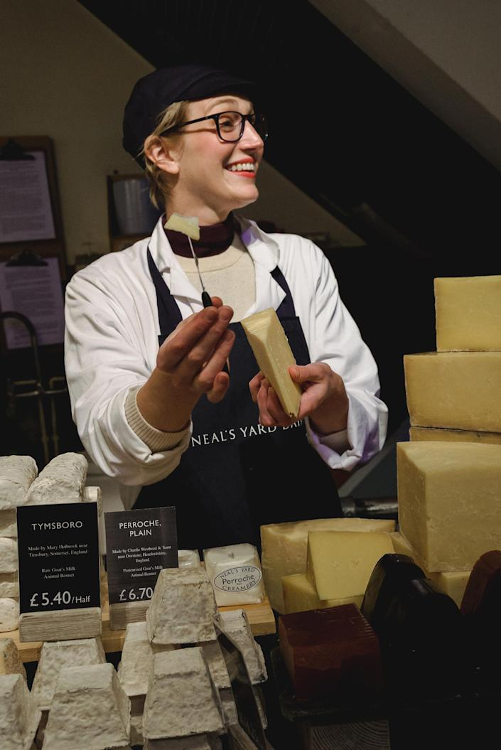 Me working as a cheesemonger at London's famed cheese shop Neal's Yard Dairy. (Jacob Harrell)