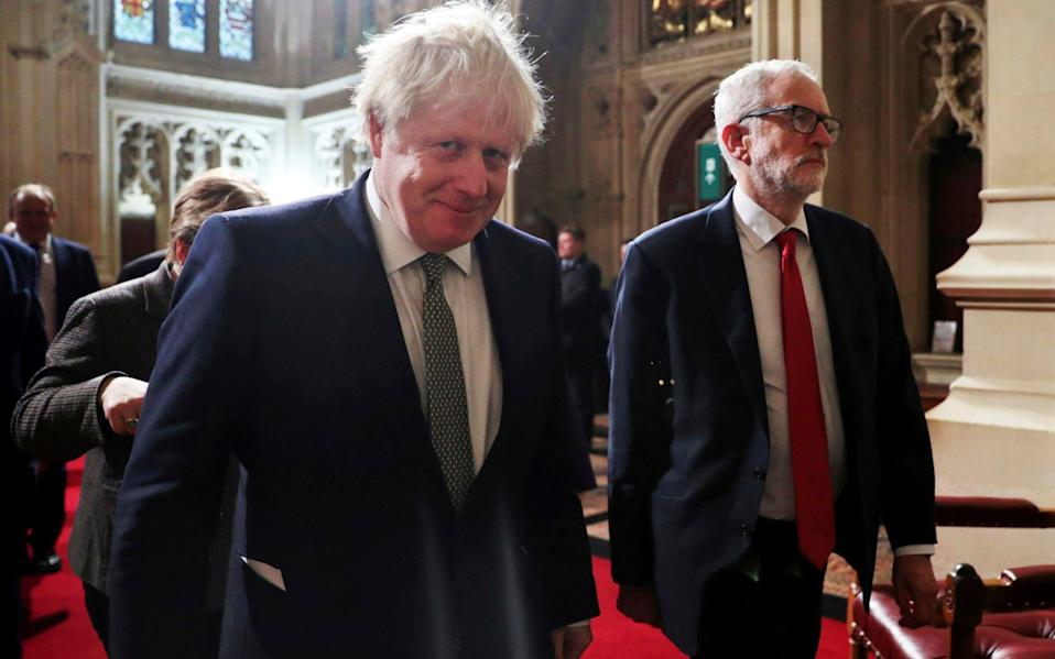 Prime Minister Boris Johnson and Jeremy Corbyn battled over broadband in last year's election. - POOL Reuters