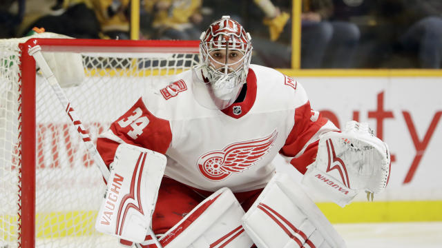 "After two injuries to the goalie position, the <a class=""link rapid-noclick-resp"" href=""/nhl/teams/phi/"" data-ylk=""slk:Philadelphia Flyers"">Philadelphia Flyers</a> have inquired about Red Wings goalie, <a class=""link rapid-noclick-resp"" href=""/nhl/players/5114/"" data-ylk=""slk:Petr Mrazek"">Petr Mrazek</a>. (AP Photo/Mark Humphrey)"