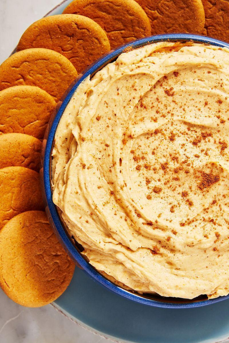 """<p>We may be British, but we kinda love <a href=""""https://www.delish.com/uk/cooking/recipes/a33749990/pumpkin-spice-chocolate-chip-cookies-recipe/"""" rel=""""nofollow noopener"""" target=""""_blank"""" data-ylk=""""slk:pumpkin pie"""" class=""""link rapid-noclick-resp"""">pumpkin pie</a> desserts but we love this for its simplicity and because it is the ultimate thing to bring to your next Halloween party. Ginger snaps are great but we encourage you to go wild with things to dip in it.</p><p>Get the <a href=""""https://www.delish.com/uk/cooking/recipes/a33978149/pumpkin-pie-dip-recipe/"""" rel=""""nofollow noopener"""" target=""""_blank"""" data-ylk=""""slk:Pumpkin Pie Dip"""" class=""""link rapid-noclick-resp"""">Pumpkin Pie Dip</a> recipe.</p>"""