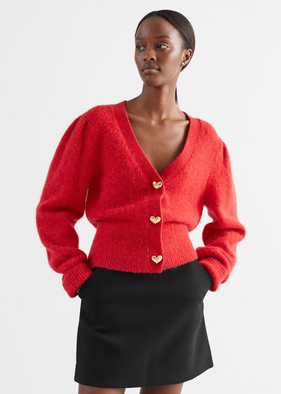 <p>If Valentine's Day was a top, it would be this <span>&amp; Other Stories Heart Button Alpaca Blend Cardigan</span> ($99).</p>