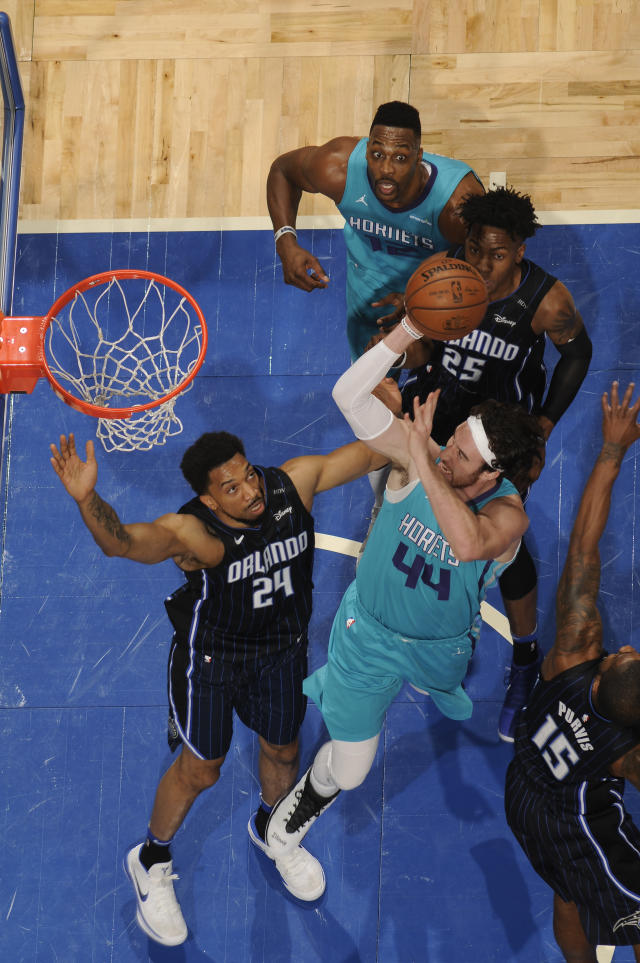ORLANDO, FL - APRIL 6: Frank Kaminsky #44 of the Charlotte Hornets shoots the ball against the Orlando Magic on April 6, 2018 at Amway Center in Orlando, Florida. (Photo by Fernando Medina/NBAE via Getty Images)