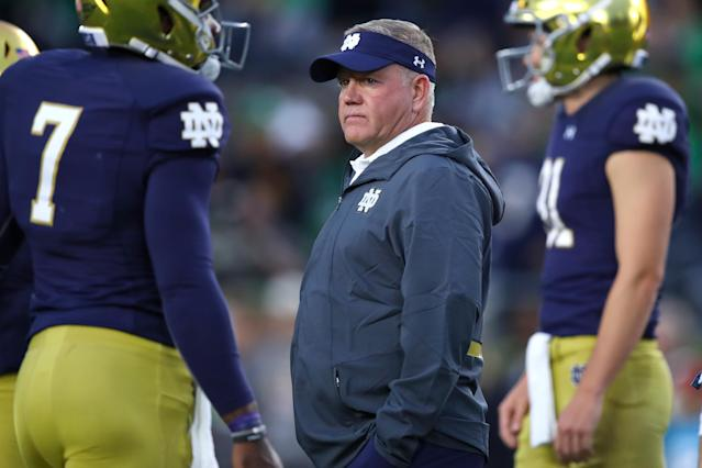 Brian Kelly and the Fighting Irish are sitting pretty at 5-0 with a manageable schedule the rest of the way. (Getty)