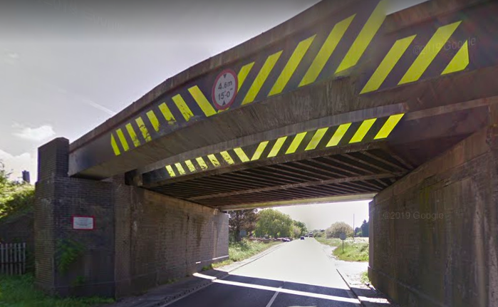 The Watling Street bridge on the A5 in Hinckley, Leicestershire was struck 25 times in the last year. (Google Maps)