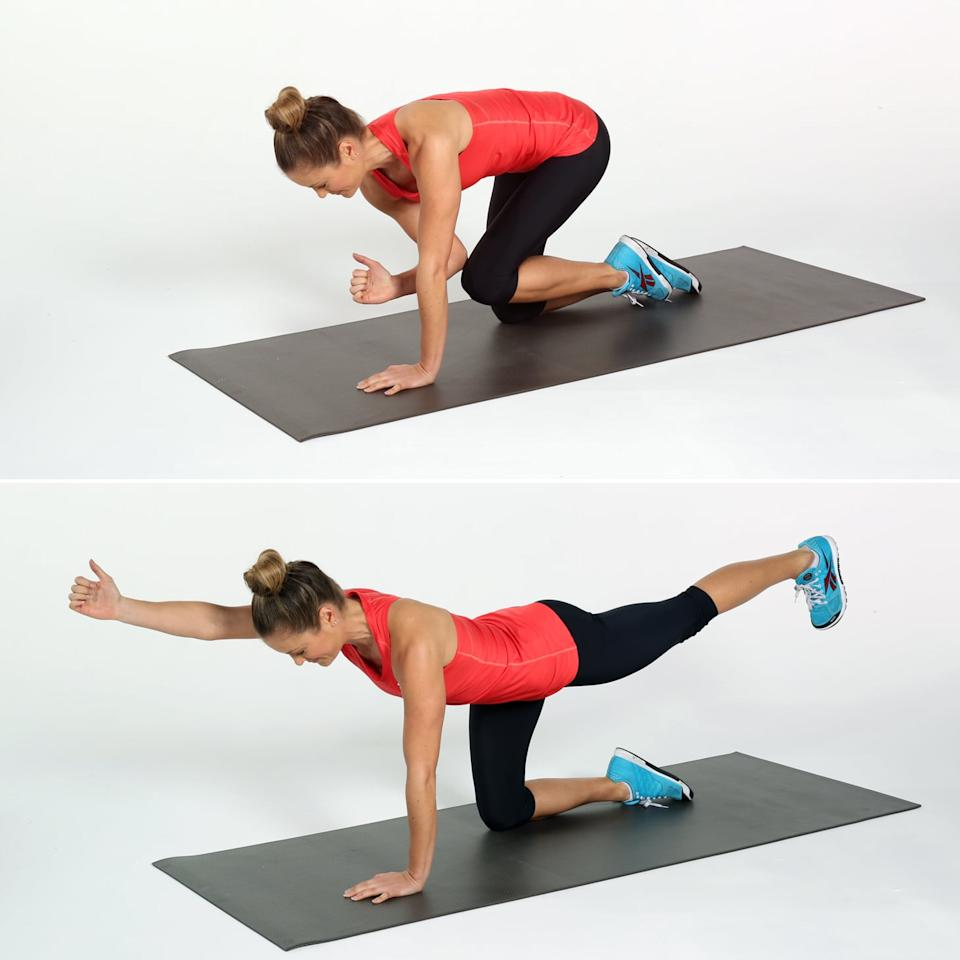 <ul> <li>Begin on all fours with your hands directly under your shoulders and your knees directly under your hips. Bring your abs to your spine as you  bring your left knee and right elbow together under your torso.</li> <li>Keeping your torso stable, straighten your right arm and left leg. Reach through your left heel to engage the muscles on the back of your leg and your butt.</li> <li>This completes one rep.</li> <li>Complete 10 reps on each side.</li> </ul>