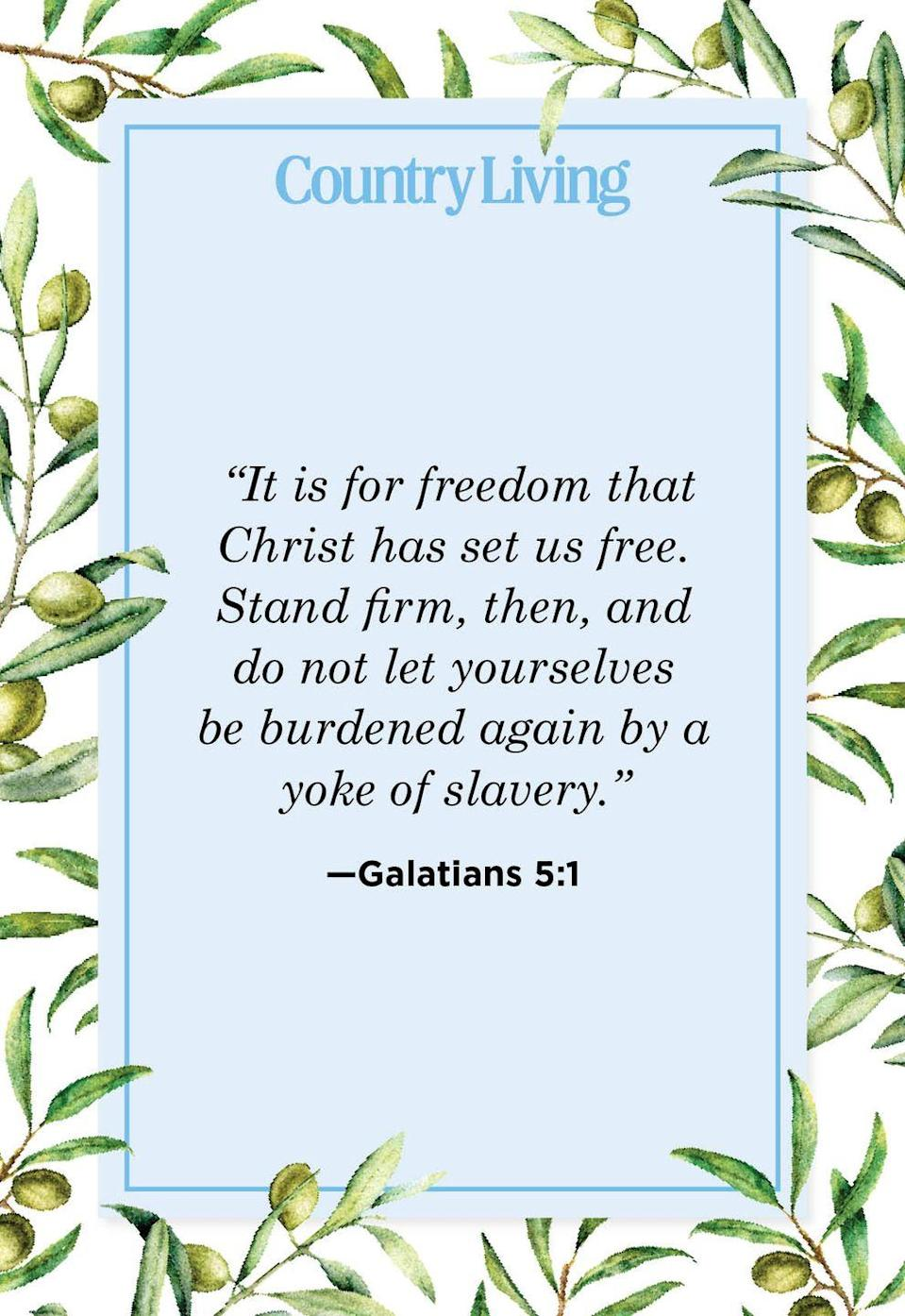 """<p>""""It is for freedom that Christ has set us free. Stand firm, then, and do not let yourselves be burdened again by a yoke of slavery."""" </p>"""