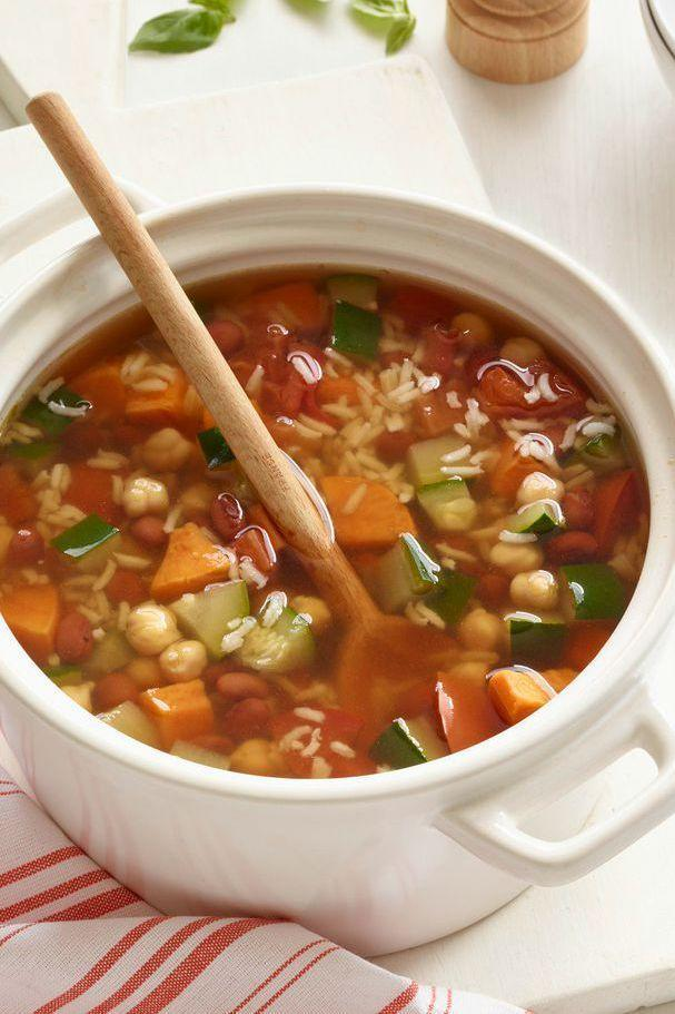 "<p>Make one heaping pot of this hearty soup and freeze separately for a quick dinner you can enjoy all month long.</p><p><em><a href=""https://www.womansday.com/food-recipes/food-drinks/recipes/a51523/sweet-potato-bean-rice-soup/"" rel=""nofollow noopener"" target=""_blank"" data-ylk=""slk:Get the Sweet Potato, Bean and Rice Soup recipe."" class=""link rapid-noclick-resp"">Get the Sweet Potato, Bean and Rice Soup recipe.</a></em></p>"