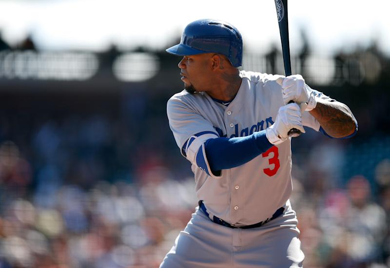 SAN FRANCISCO, CA - OCTOBER 01: Carl Crawford #3 of the Los Angeles Dodgers bats against the San Francisco Giants at AT&T Park on October 1, 2015 in San Francisco, California. (Photo by Ezra Shaw/Getty Images)