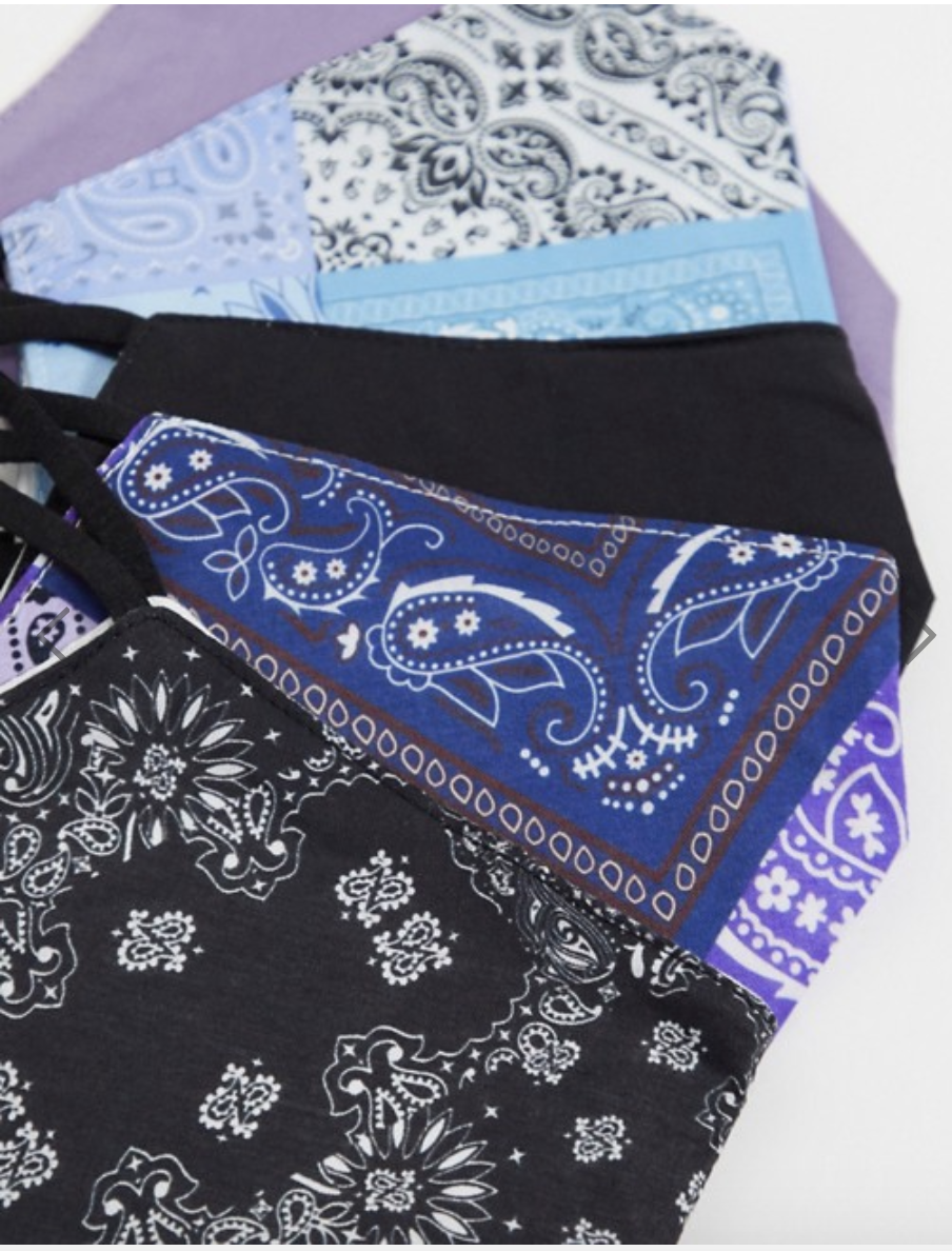 ASOS DESIGN unisex 5 pack face coverings with adjustable straps and nose clip in bandana prints, US$26. PHOTO: ASOS