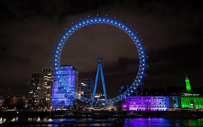 Handout photo issued by NHS England of the London Eye lit up in blue on Saturday evening to thank NHS staff for their role in fighting the coronavirus pandemic on the health service's 73rd birthday. - PA