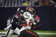 Tampa Bay Buccaneers running back Ronald Jones II (27) runs for a touchdown against the Houston Texans during the first half of an NFL preseason football game Saturday, Aug. 28, 2021, in Houston. (AP Photo/Justin Rex)