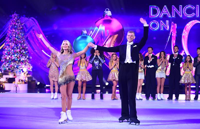 Caprice Bourret and Hamish Gaman attending the launch of Dancing On Ice 2020, held at Bovingdon Airfield, Hertfordshire. (Photo by Ian West/PA Images via Getty Images)