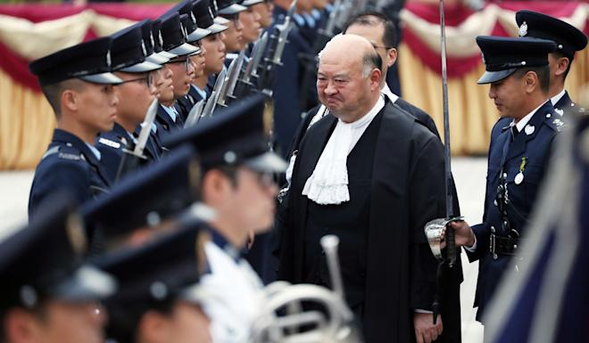The members of the Defend Hong Kong Campaign on Thursday urged Chief Justice Geoffrey Ma to resign. Photo: Robert Ng