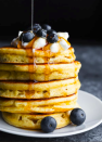 """<p>Love to see proper hight on your stack, may we suggest these extra thick protein pancakes instead? Yes, we may. Made with protein powder, eggs and Greek yoghurt, they're the perfect way to start your day. </p><p>Try the recipe for yourself: <a class=""""link rapid-noclick-resp"""" href=""""https://sweetpeasandsaffron.com/protein-pancakes/"""" rel=""""nofollow noopener"""" target=""""_blank"""" data-ylk=""""slk:sweetpeaandsaffron.com"""">sweetpeaandsaffron.com</a></p>"""