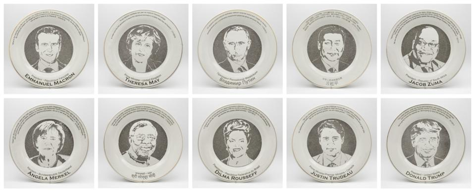 Smog Collectors plates featuring 10 world leaders who presented speeches at world climate summits from 2011 to 2018.