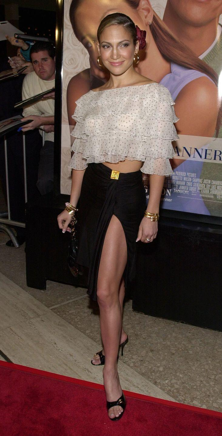 <p>In a tiered sheer spot top and black midi skirt for the premiere of rom-com The Wedding Planner.</p>