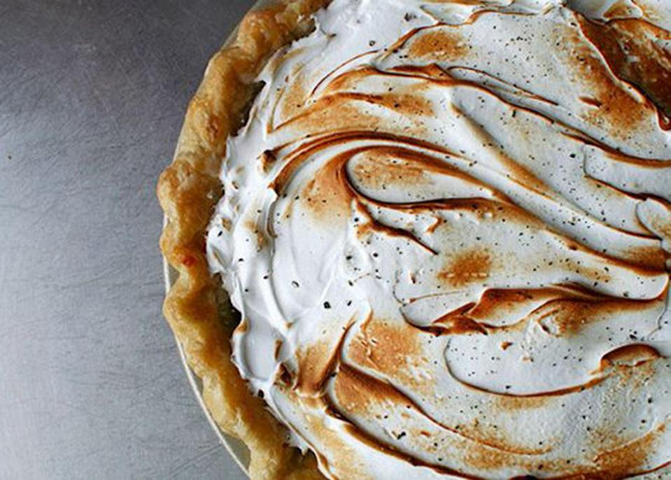 """<p>If you want to make sure you'll be serving a pie that none of your guests have laid eyes on before, this is it. A creamy filling is flavored with honey, grapefruit juice, and black pepper then topped with an airy meringue. <a href=""""https://www.yahoo.com/food/black-pepper-and-grapefruit-meringue-pie-recipe-119122097381.html"""" data-ylk=""""slk:Get the Black Pepper and Grapefruit Meringue Pie recipe here.;outcm:mb_qualified_link;_E:mb_qualified_link;ct:story;"""" class=""""link rapid-noclick-resp yahoo-link""""><b>Get the Black Pepper and Grapefruit Meringue Pie recipe here</b>.</a> (<i>Photo: Tim Mazurek)</i></p>"""