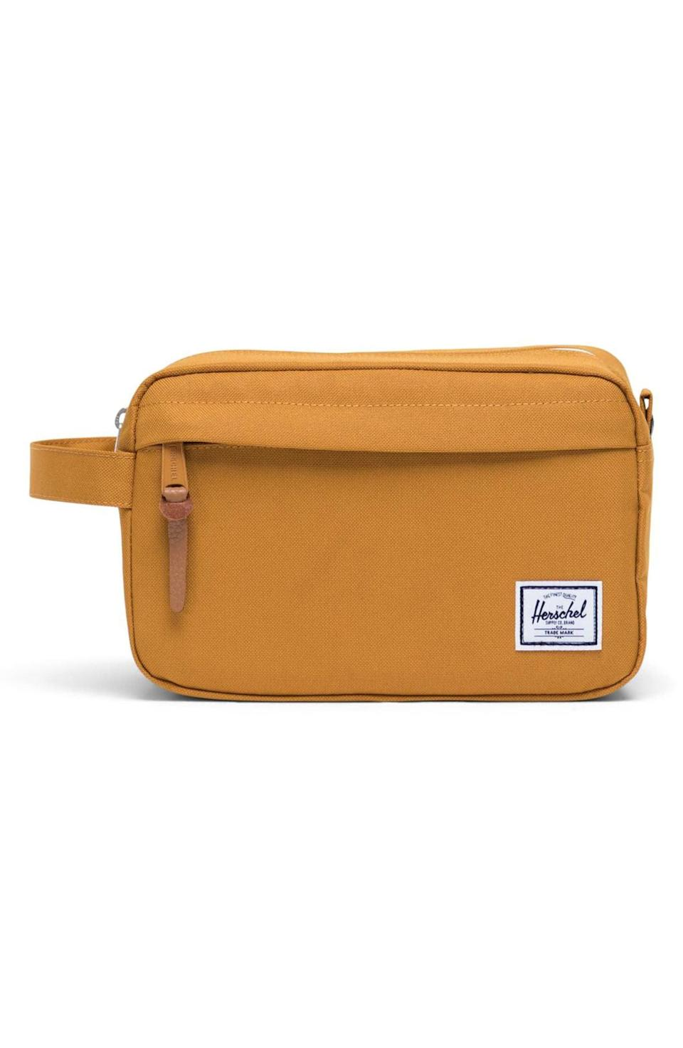 <p>He can stash all his skincare necessities inside the <span>Herschel Supply Co. Chapter Dopp Kit</span> ($35) when he goes on a trip.</p>