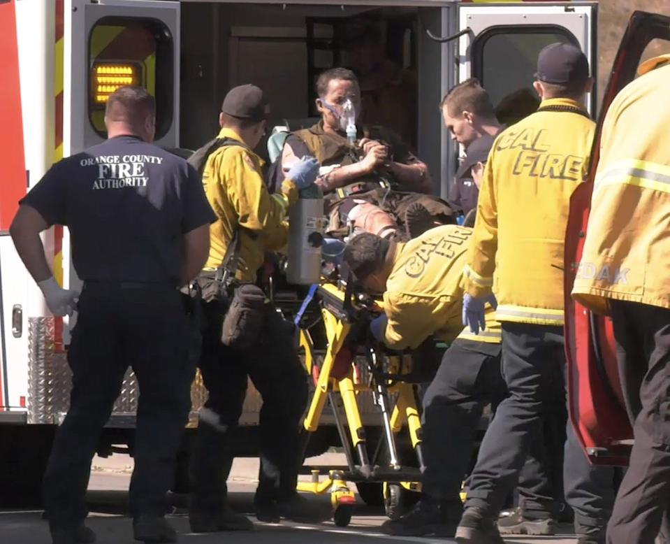 A firefighter sustained 2nd and 3rd degree burns near Santiago Canyon Rd. &Limestone Spur fighting the Silverado fire.
