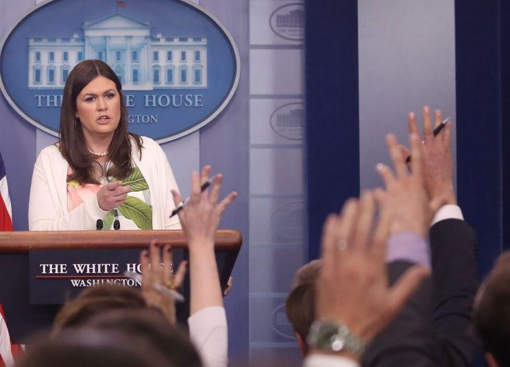 White House deputy press secretary Sarah Huckabee Sanders speaks during an earlier, on-camera briefing.