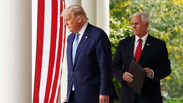 PHOTO:President Donald Trump and Vice President Mike Pence arrive in the Rose Garden to speak on Covid-19 testing at the White House in Washington, D.C., Sept. 28, 2020. (Mandel Ngan/AFP via Getty Images, FILE)