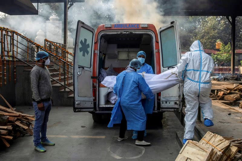 FILE PHOTO: Cremations after coronavirus deaths in New Delhi
