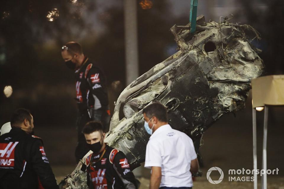 """Michael Masi, Race Director, FIA, attends the scene of the huge crash for Romain Grosjean, Haas VF-20, on the opening lap<span class=""""copyright"""">Zak Mauger / Motorsport Images</span>"""