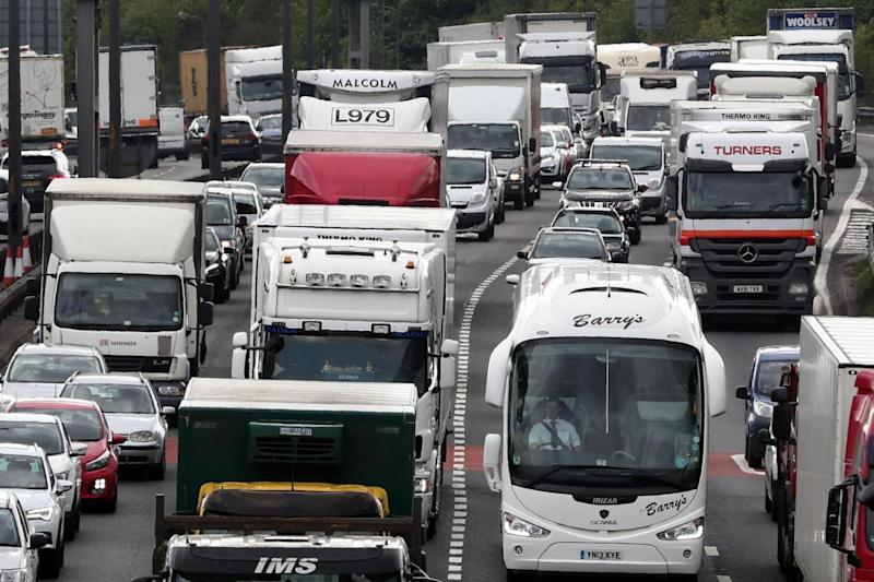 Busy: Traffic builds up at the Dartford Crossing (PA)