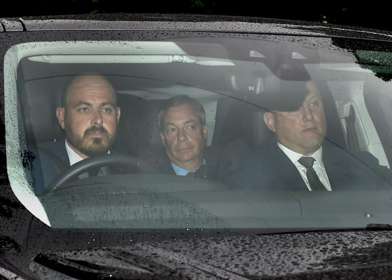 Brexit Party leader Nigel Farage (centre) arrives at Winfield House, the residence of the Ambassador of the United States of America to the UK, in Regent's Park, London.