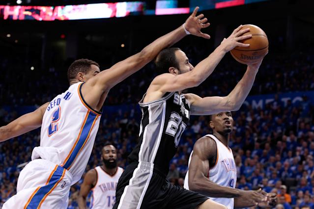 OKLAHOMA CITY, OK - MAY 31: Manu Ginobili #20 of the San Antonio Spurs goes up for a shot in front of Thabo Sefolosha #2 of the Oklahoma City Thunder in the second half in Game Five of the Western Conference Finals of the 2012 NBA Playoffs at Chesapeake Energy Arena on May 31, 2012 in Oklahoma City, Oklahoma. NOTE TO USER: User expressly acknowledges and agrees that, by downloading and or using this photograph, User is consenting to the terms and conditions of the Getty Images License Agreement. (Photo by Brett Deering/Getty Images)